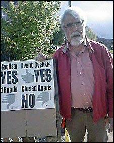 Peter Hounam with placard