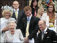 Queen, Duke of Edinburgh, Prince Harry, Duchess of Cornawall outside chapel