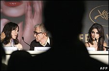 Rebecca Hall (left), Woody Allen and Penelope Cruz at Cannes