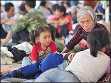 Survivors at a shelter in Mianyang, north of Chengdu on 18 May 2008