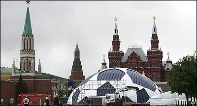Red Square is prepared ahead of the Champions League final