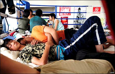People sleeping in boxing ring in Beichuan 18/5/08