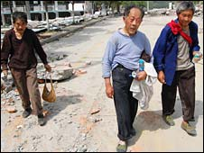 Three elderly men called Liu from Biechuan, China, after the earthquake