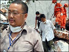 Chen Yuhong from Beichuan, China,, after the earthquake