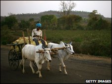 A man with two ox and a cart