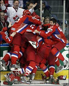 Russian players celebrate the winning goal