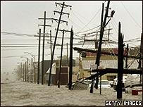 Inundación y daños provocados por un huracán