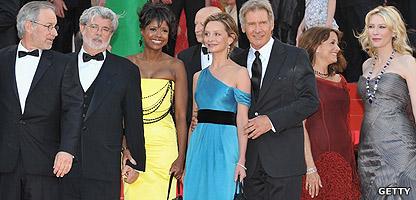 George Lucas, Steven Spielberg, Melody Hoffman, Calista Flockhart, Harrison Ford, Karen Allen and Cate Blanchett