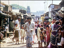 A Bihari refugee camp in Bangladesh