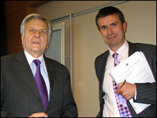Jean-Claude Trichet (L) and Robert Peston (R)