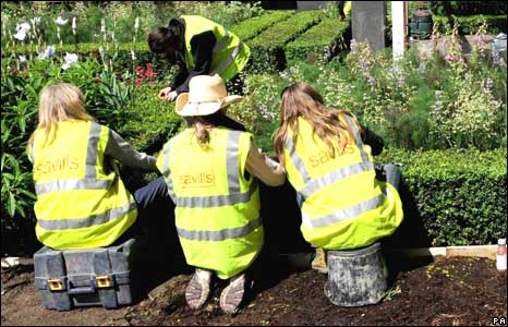 Gardeners at work at the Chelsea Flower Show