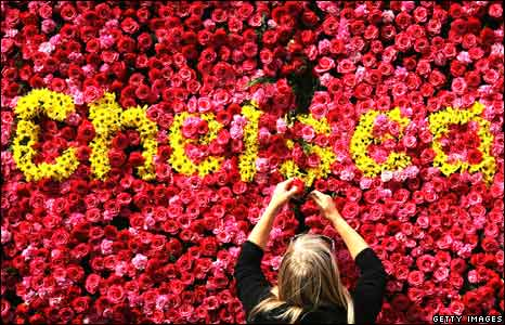 A 'flower board' advertising the Chelsea Flower Show