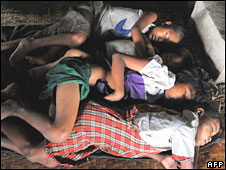 Burmese Children with diarrhoea sleep at a monastery near Rangoon on 16 May 2008