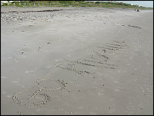 &quot;Go Phoenix&quot; written on the beach at Cape Canaveral, Florida (Tom Pike)