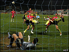 Betar (in yellow) versus mainly Arab team Bnei Sakhnin