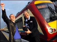 Paul Drummond is the line's first passenger. Pic by JAN VAN DE MERWE (Central Scotland News Agency)