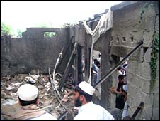 The house hit in the missile attack in Damadola