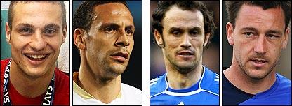 Nemanja Vidic, Rio Ferdinand, Ricardo Carvalho and John Terry