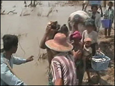Cyclone survivors in Burma