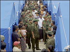 Burma leader General Than Shwe and other officials visit a camp for cyclone survivors, 19 May 2008
