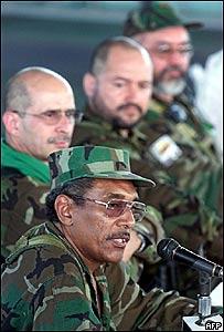 Joaquin Gomez, Sim�n Trinidad, Carlos Lozada y Raul Reyes de las FARC, en 2002, AFP