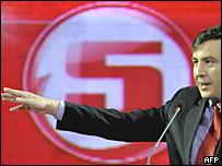 Президент Грузии Михаил Саакашвили выступает во время предвыборной кампании (фото 3 мая)
