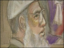 Court drawing of Habib Khan in court