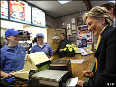Hillary Clinton visits a Dairy Queen ice cream bar, Indiana, 4 May 2008 (File picture)