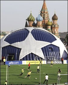 Fans have been playing football in Moscow's Red Square