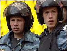Moscow riot police train for the Champions League match
