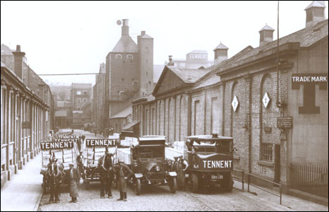 Horses and lorries at Tennent's Wellpark Brewery