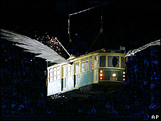 "A ""flying tram"" at a show in Australia (Image: AP)"