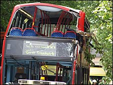 The scene of the bus crash