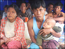 Family of cyclone refugees