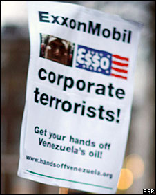 Sign protesting against Exxon Mobil's court battle with Venezuela