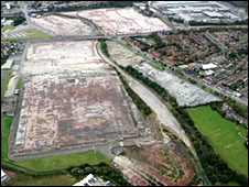 Aerial view of current Longbridge site