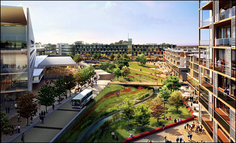 Artist's impression of proposed Longbridge town centre