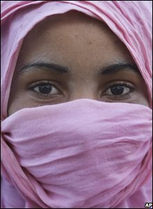 A Saharan girl who did not want to be identified in the village of Tifariti