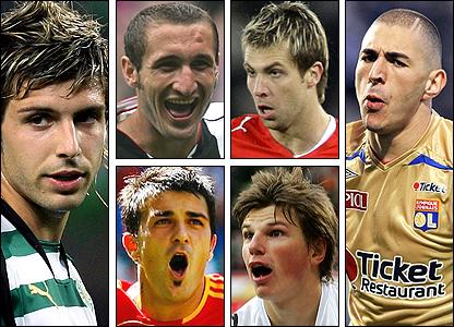 Clockwise from left: Miguel Veloso, Giorgio Chiellini, Andreas Ivanschitz, Karim Benzema, Andrei Arshavin, David Villa