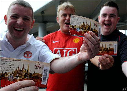 Tuesday: There are plenty of manchester United fans keen to show off their tickets on arrival in Moscow
