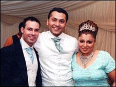 (left to right) Fadi Nasri, Katen Patel (brother of Nisha) and Nisha Patel-Nasri at Fadi and Nisha's wedding
