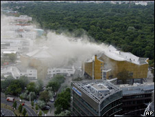 Smoke rises from the Berlin Philharmonic near Potsdamer Platz in Berlin, Germany