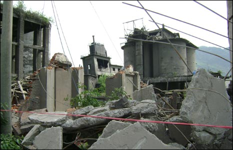 destroyed cement factory between Xiaoyudong Bridge and Longmenshan