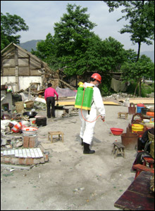 disinfecting yards at Xinxing