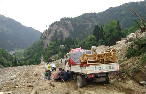 Broken-down lorry on road