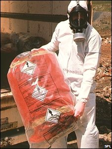 Man in protective wear holding asbestos