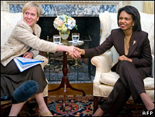 Ingibjorg Solrun Gisladottir and Condoleeza Rice. Image: AFP/Getty