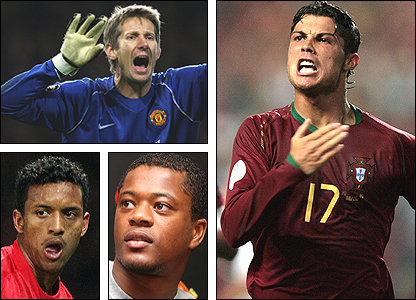 Clockwise from top left: Edwin van der Sar, Cristiano Ronaldo, Patrice Evra, Nani