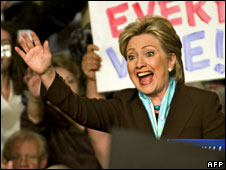 Hillary Clinton celebrates her Kentucky win at a rally in Louisville, Kentucky, 20 May 2008