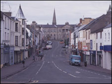 Omagh town centre a year after the bomb